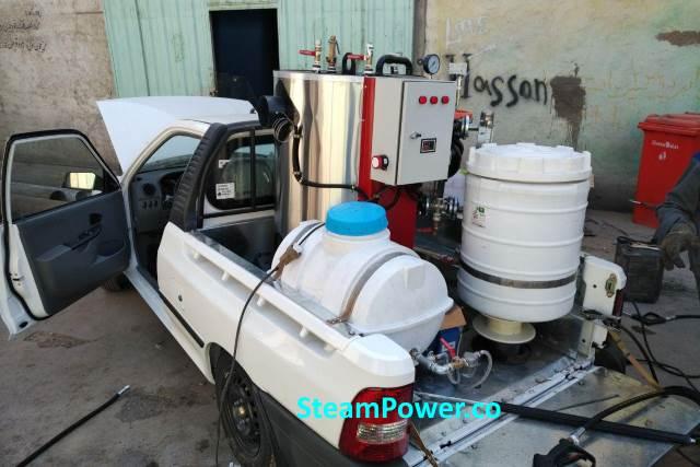 کارواش بخار سیار و بخارشوی صنعتی سیار قابل حمل در محل موتورشویی توشویی صفرشویی خودرو اتومبیل ماشین