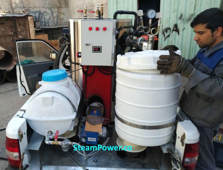 کارواش بخار سیار و بخارشوی صنعتی سیار قابل حمل در محل موتورشویی توشویی 2 صفرشویی خودرو اتومبیل ماشین